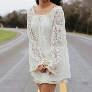 White Lace Puff Sleeve Dress With Tassels
